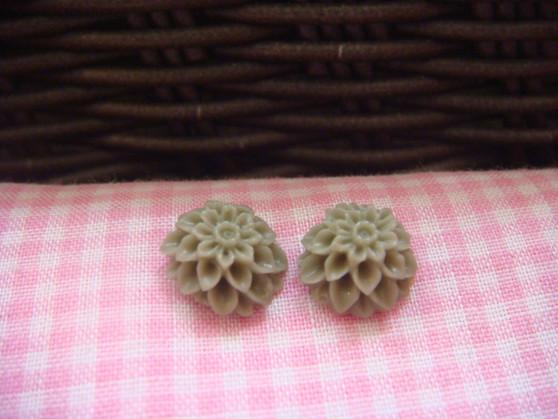 1cm Khaki Chrysanthemum Cabochon