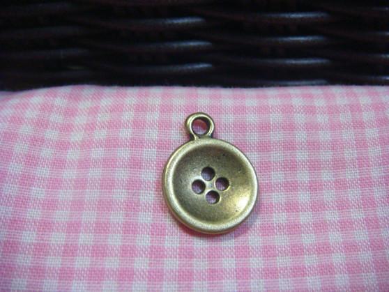 Antique Bronze Button Charm