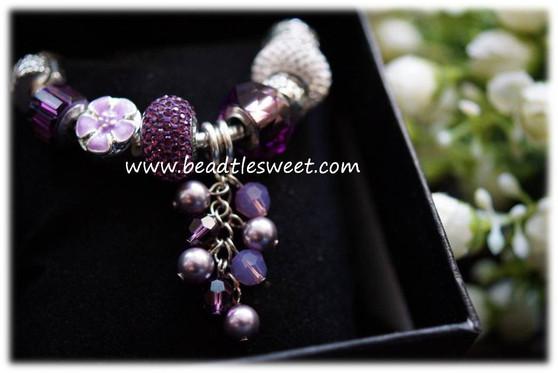 February Birthstone Bracelet using Amethyst Swarovski BeCharmed Beads