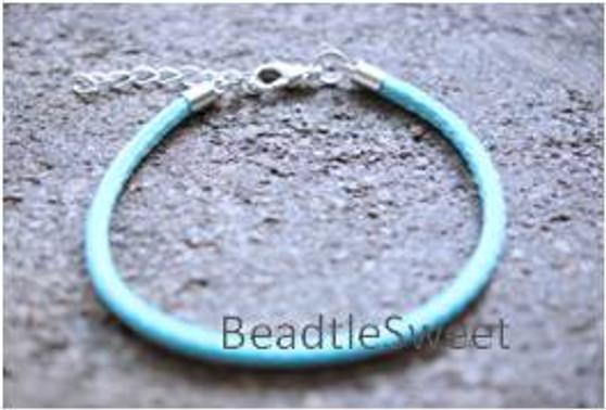 Polyester Cord Bracelet in Light Turquoise Blue