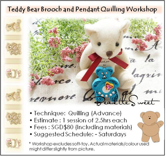 Teddy Brooch Paper Quilling Workshop (Advance)