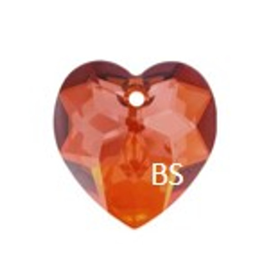 Swarovski 6215 Fancy Heart Pendant Crystal Red Magma 18mm