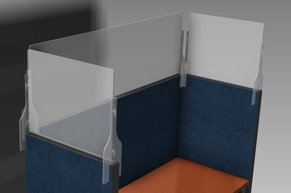 These cubicle wall extension barriers offer an added layer of protection from the direct spread of airborne droplets containing viruses and bacteria.