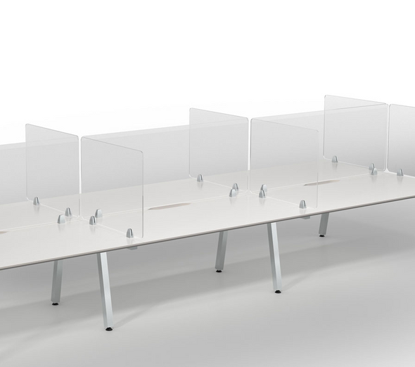 Meeting table sneeze guard divider screens customixable