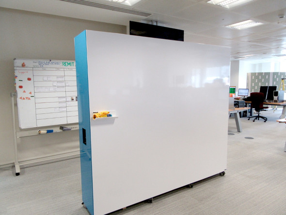 Mobile collaboration wall with dry erase and magnetic surface. Laminate