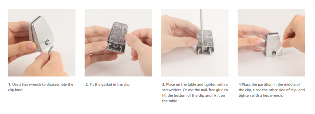 office partition screen clamp install details