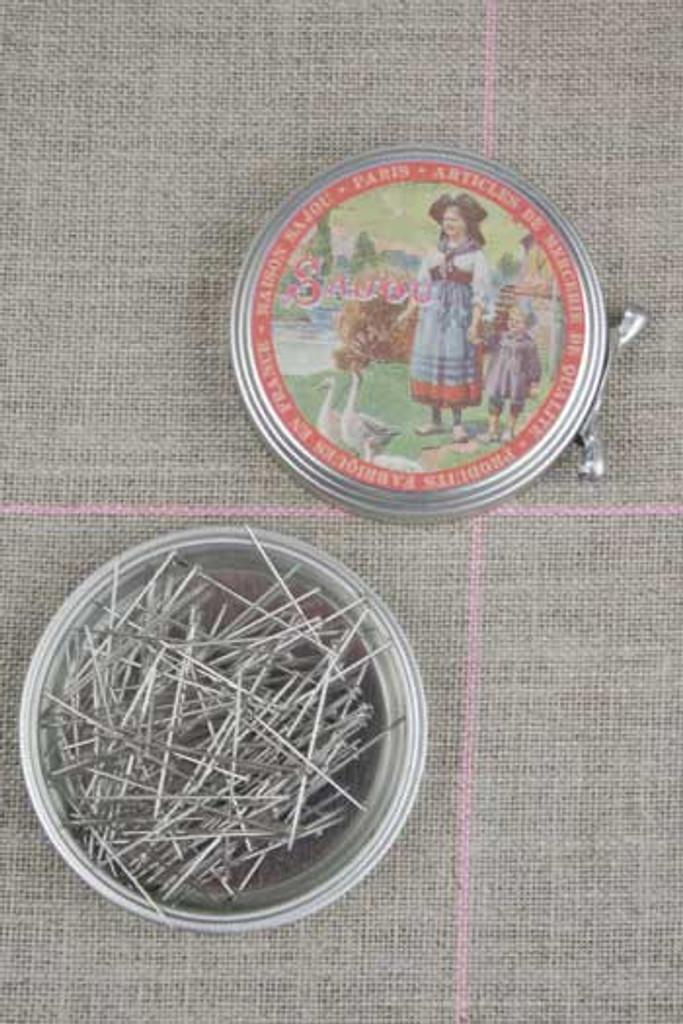 "Metal Tins with Dressmaker's Pins No. 4 - 1 1/8"""