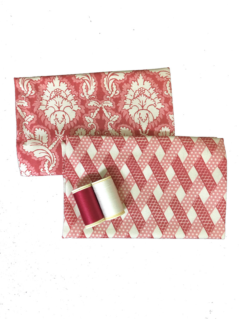 Damas Red - Two Printed Swatches with Matching Threads