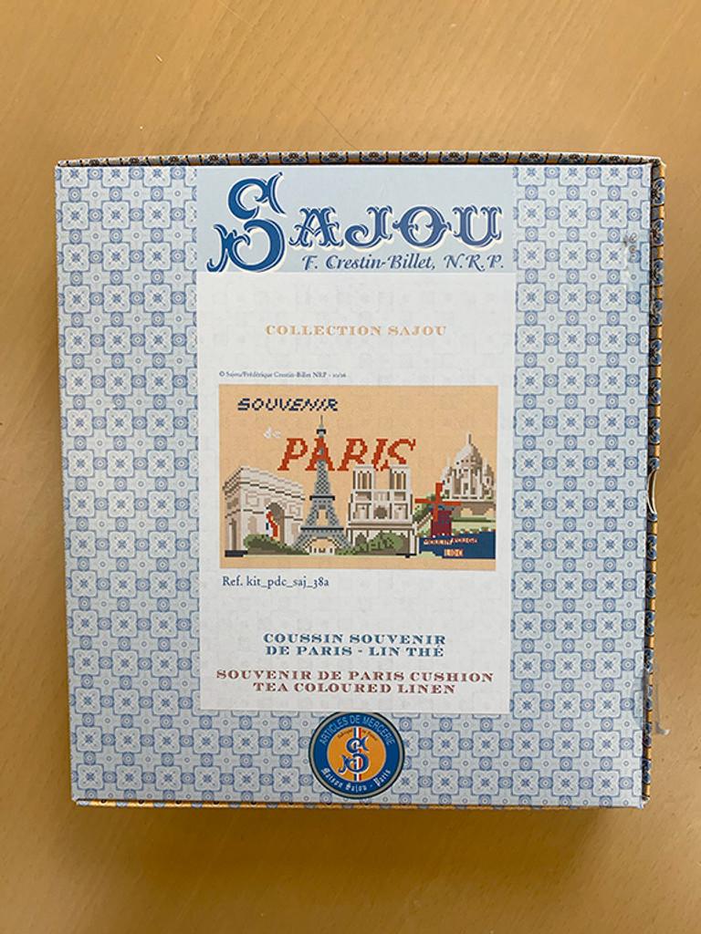 "Paris ""Postcard"" Small Cushion - Linen Version"