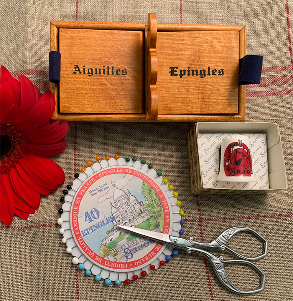 Needles & Pins Box with Scissors, Rosette of Pins and Thimble