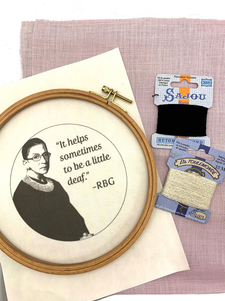 Wisdom Embroidery Kit - Ruth Bader Ginsburg - RGB