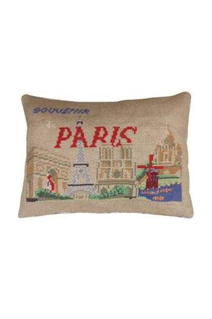 """Paris """"Postcard"""" Small Cushion - Aida Version"""