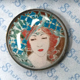 Set of Six Art Nouveau Buttons - Women's Portraits