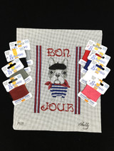 Bonjour - French Bulldog Needlepoint Set