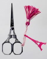 Eiffel Tower Scissors with Pink Tassel