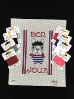 Bonjour - French Bulldog Needlepoint Set