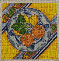 Lemon & Orange Plate Needlepoint Canvas & Kit