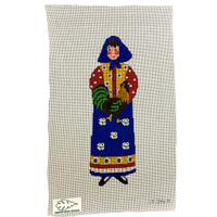 French Woman with Rooster Needlepoint Kit