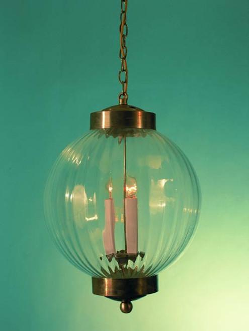 "Ribbed Optic Glass Pendant Light 6"""
