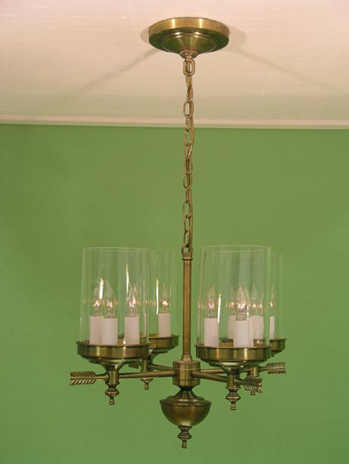 Berkshire Four Arm Chandelier - Tall Glass