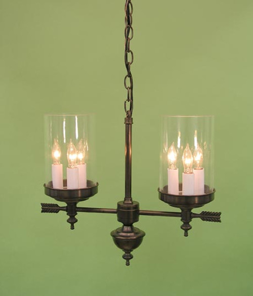 Berkshire Two Arm Chandelier - Tall Glass