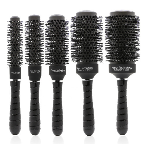 QUINN Black Ceramic Heat Resistant Ionic Round Hair Brushes