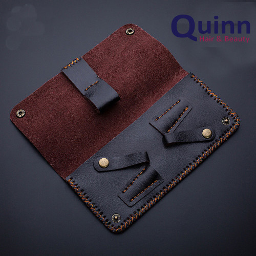 2 Piece Soft Brown Leather Scissor case holder