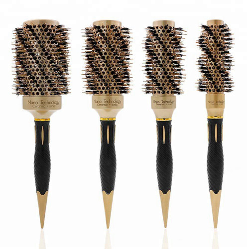 GOLD CERAMIC IONIC ROUND BARREL HAIR BRUSH WITH NYLON BOAR BRISTLE