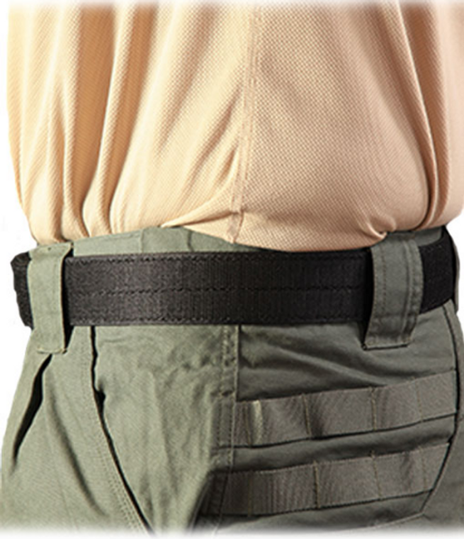 This belt is a basic inner belt lined with hook fastener to mate up with the loop on our COBRA® Rigger Belts and belt-mounted TACOs®.  • No buckle • Leading edge backed with loop fastener for easy adjustment • Enables easy on/off of tactical belts with interior loop fastener over the top of belt loops