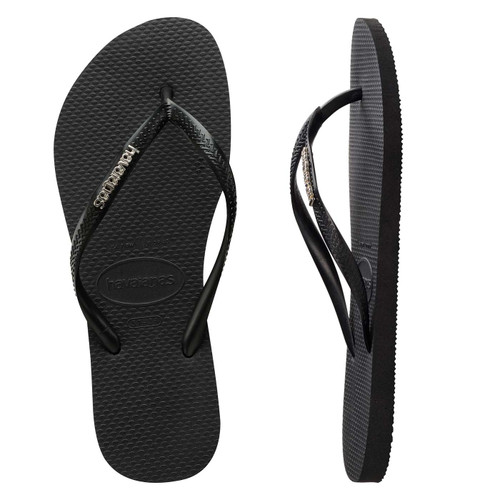 Slim Metal Logo Thongs - Black/Silver