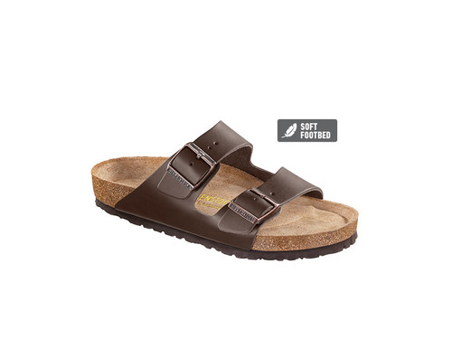 Birkenstock Arizona Smooth Leather  (Soft Footbed - Suede Lined) Regular Fit - Dark Brown