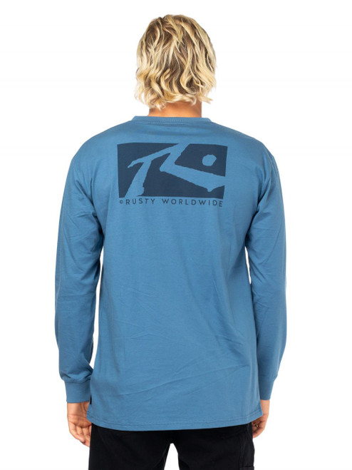 Boxed In Long Sleeve Tee Boys - China Blue