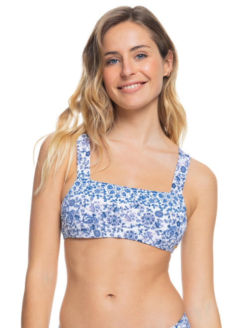 Womens Sunset Boogie Separate Bralette Bikini Top - Bright White Paisley Party
