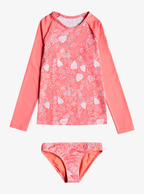 Girls 2-7 Happiness Long Sleeve UPF 50 Lycra Rash Vest Swimsuit Set - Shellpink Reefdreams