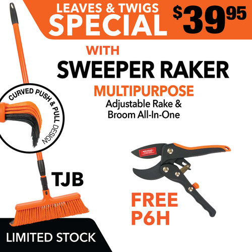 Tiger Jaw Sweeper Raker Broom Rake P6H ratchet pruner SPECIAL Leaves & Twigs Sweeper Raker with FREE P6H Pruner
