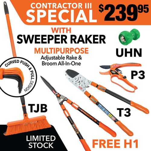 Tiger Jaw Sweeper Raker, H1, T3, UHN, P3 ratchet pruner | SPECIAL Contractor Bundle III