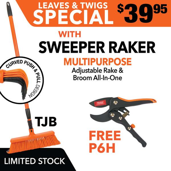 Tiger Jaw Sweeper Raker Broom Rake P6H ratchet pruner SPECIAL Leaves & Twigs Sweeper Raker with FREE P6H Pruner