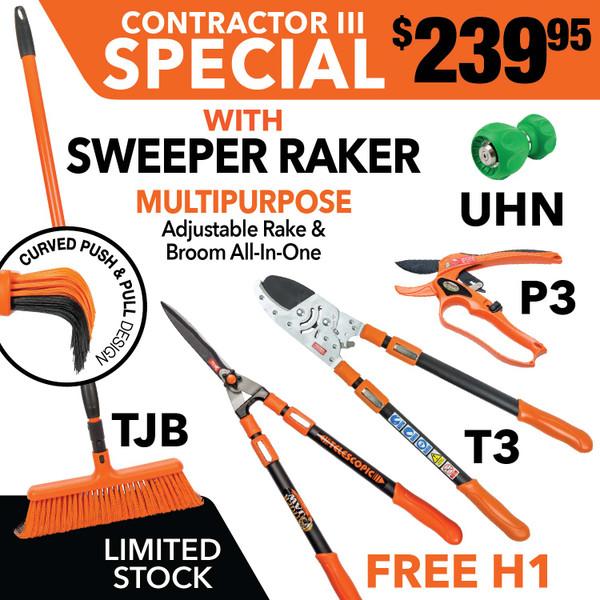 Tiger Jaw Sweeper Raker, H1, T3, UHN, P3 ratchet pruner | SPECIAL Contractor Bundle III
