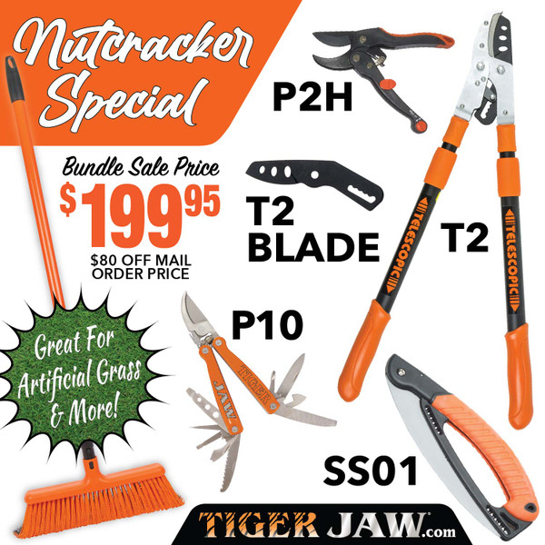 Nutcracker Special Tiger Jaw Sweeper Raker T2, SS01, P10, P2H ratchet pruner | Tiger Jaw SPECIAL NUTCRACKER I T2 SS01 P2H P10 broom rake