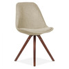 Scandi Dining Chair Upholstered in Fabric - Beige
