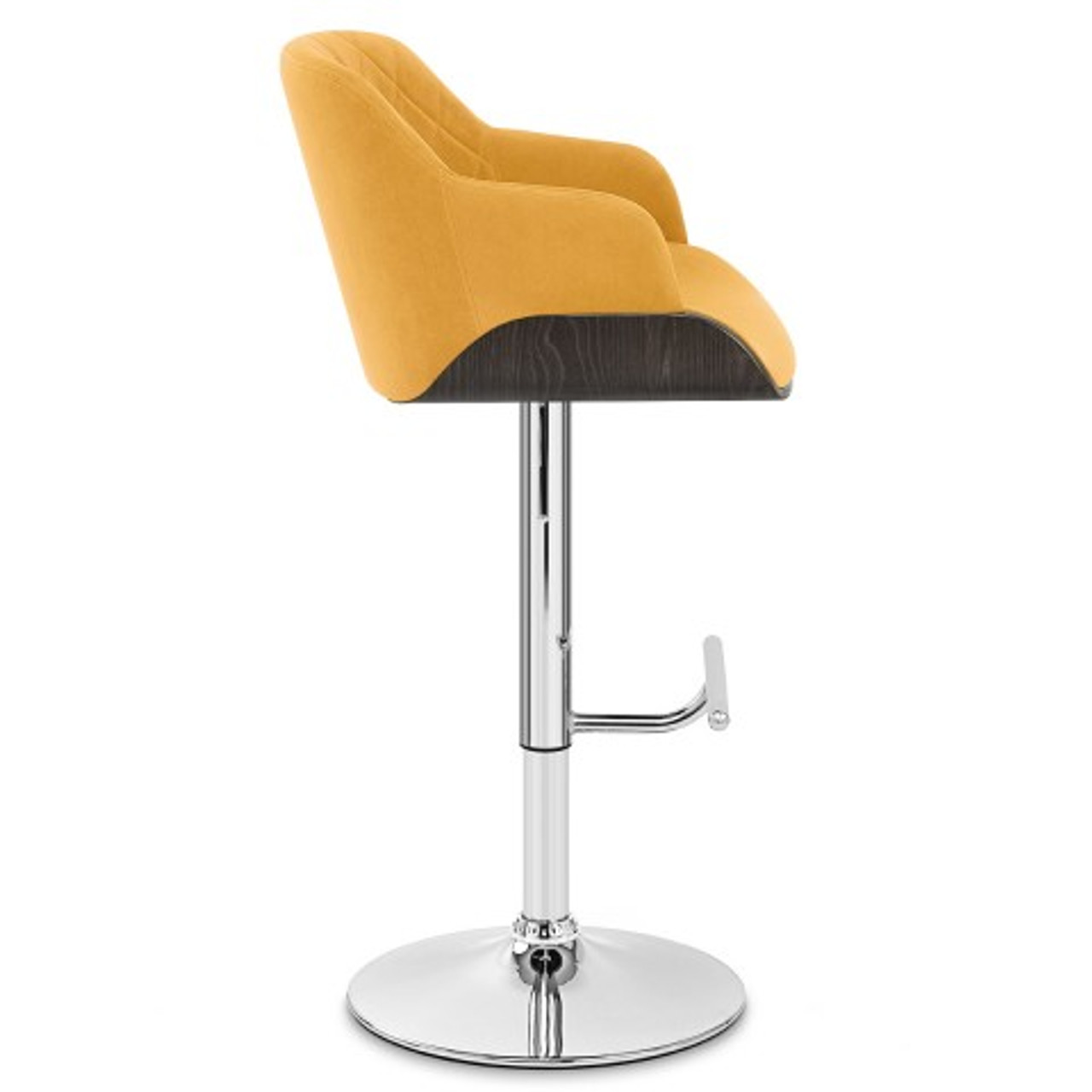 Mustard Denver Velvet Chrome Bar Stool Hydraulic Stool