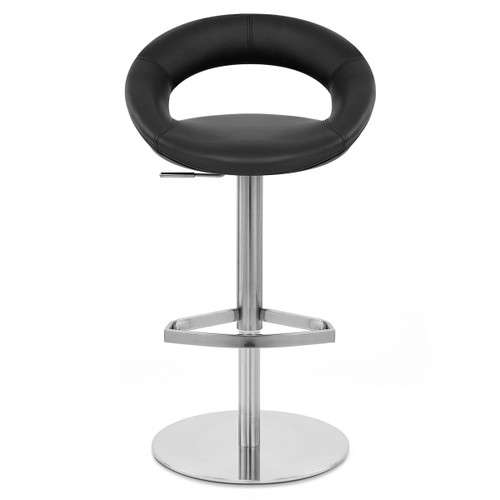 Chicago Real Leather & Brushed Steel Stool - Black