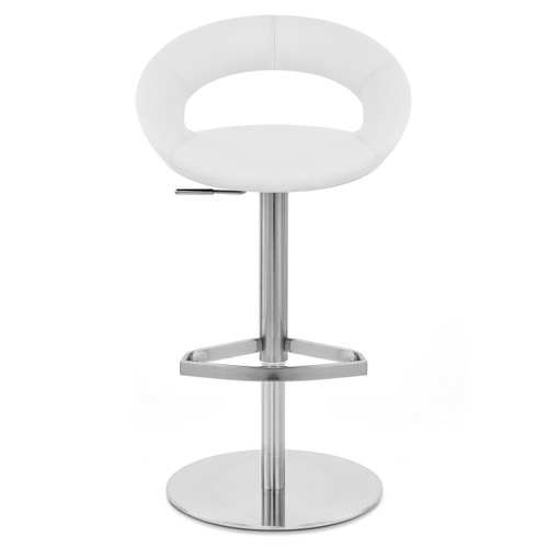 Chicago Real Leather & Brushed Steel Stool - White