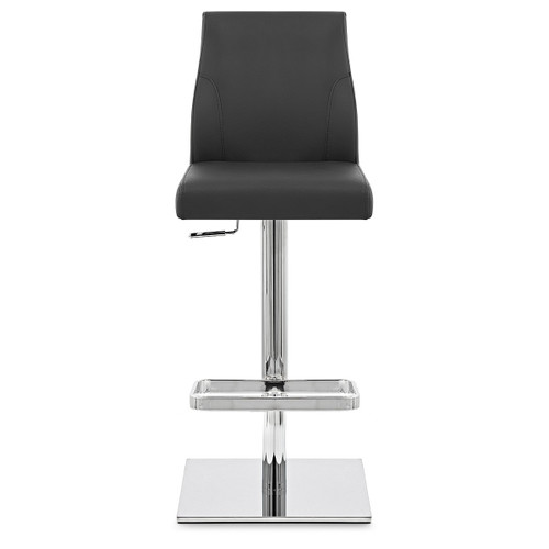 Malibu Real Leather Stool in Black