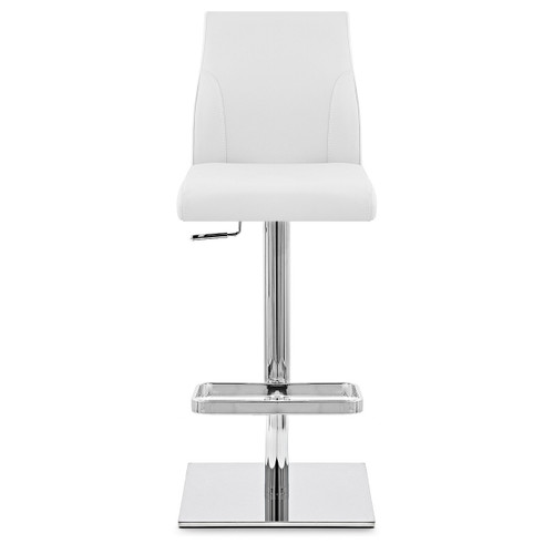 Malibu Real Leather Stool in White