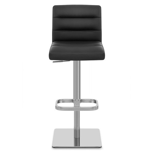 Lisbon Real Leather & Brushed Steel Stool - Black