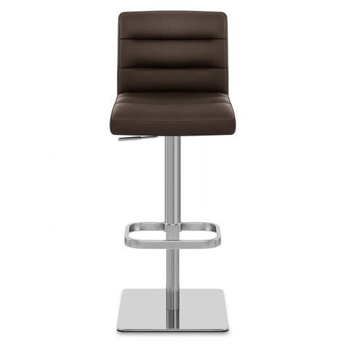 Lisbon Real Leather & Brushed Steel Stool - Brown