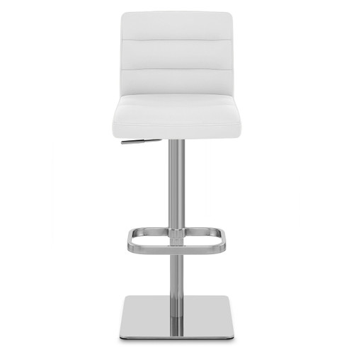Lisbon Real Leather & Brushed Steel Stool - White