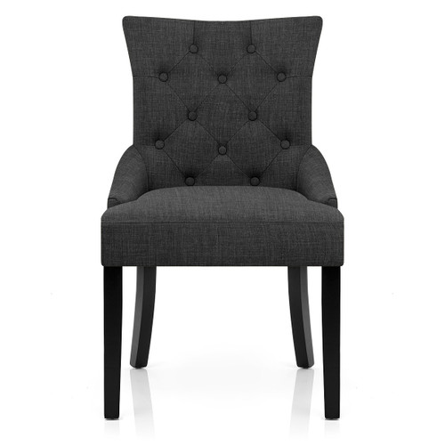 Victoria Fabric Dining Chair - Charcoal