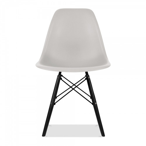 Plastic Scandi Dining Chair in Light Grey with Black
